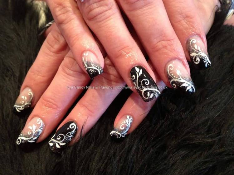 Designer Leaves With White And Black Acrylic Nail Art