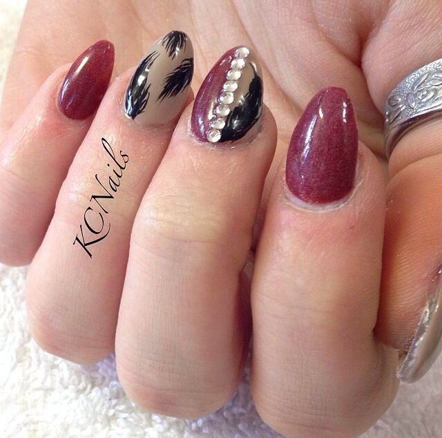 Designer Nail Paint With Dark Red Color Almond Shaped Acrylic Nail Art