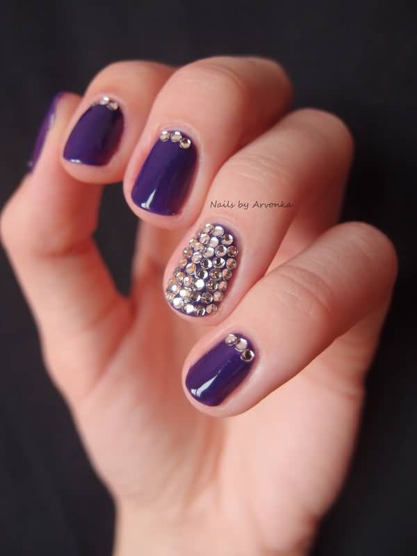 Designing Purple Color Paint With Rhinestones Accent Nail Art