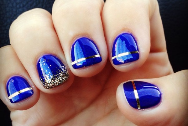 Diffrent Blue And Golden Design Accent Nail Design