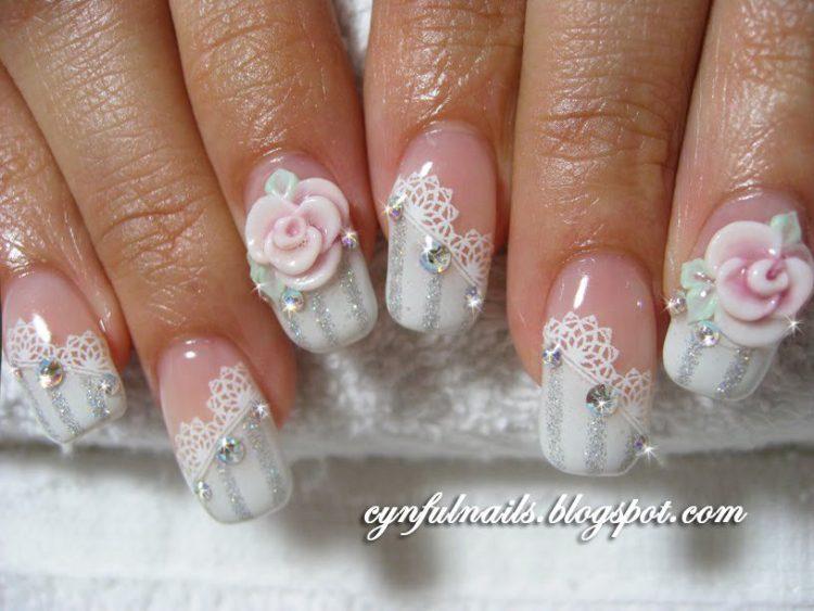 Divine Beauty Of White 3D Rose Flower Nail Art