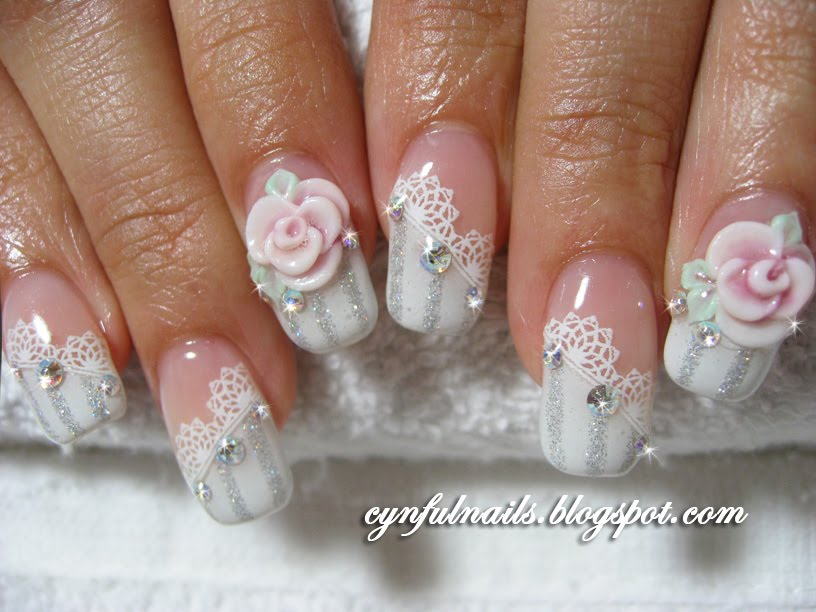 Divine Beauty Of White 3D Rose Flower Nail Art