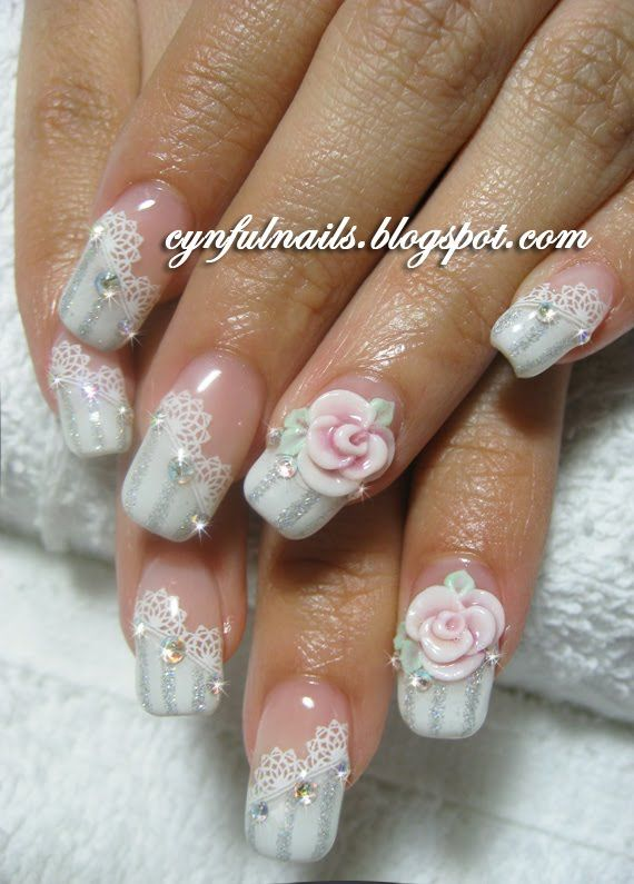 Divine White Color Nail Paint With Pink color Flower 3D Rose Flower Nail Art