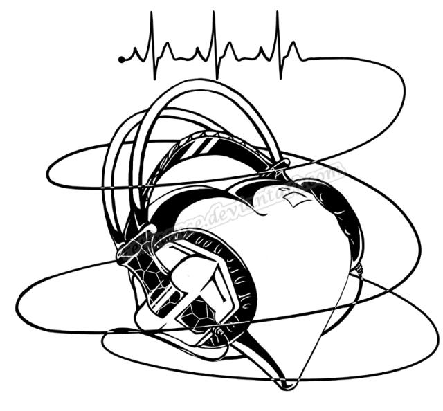Elegant Audio Heart Tattoo Sample For Boys