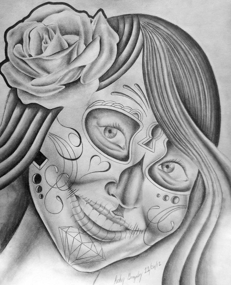 Elegant Dia De Los Muertos Drawing For Girls