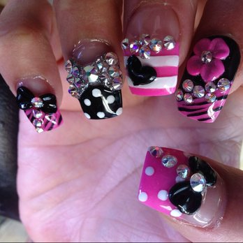 Elegant Diamond And Black Color Ribbon 3D Rose Flower Nail Art