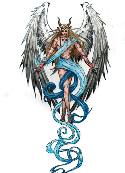 Elegant Fantasy Angel Tattoo Design For Girls