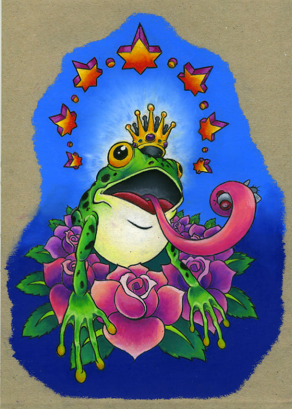 Elegant Frog King Tattoo Design For Boys