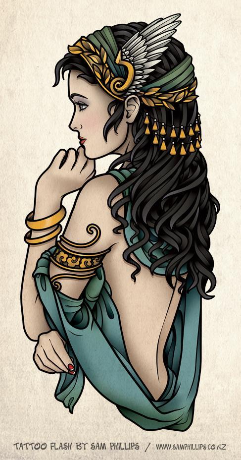 Elegant Greek Goddess Tattoo Design For Girls