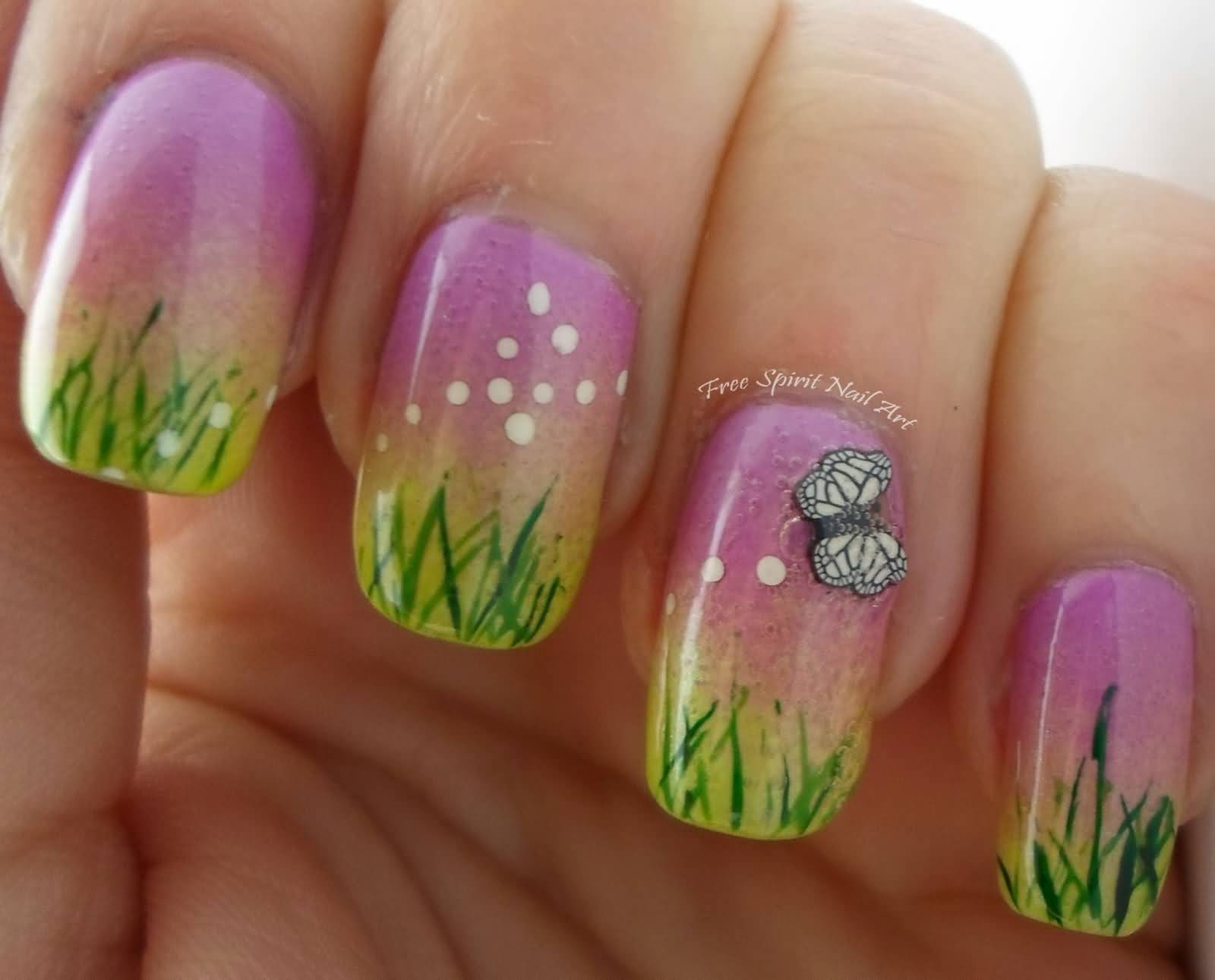 White color nail art - Elegant Green Grass With White Color Butterfly 3d Butterflies Nail Art