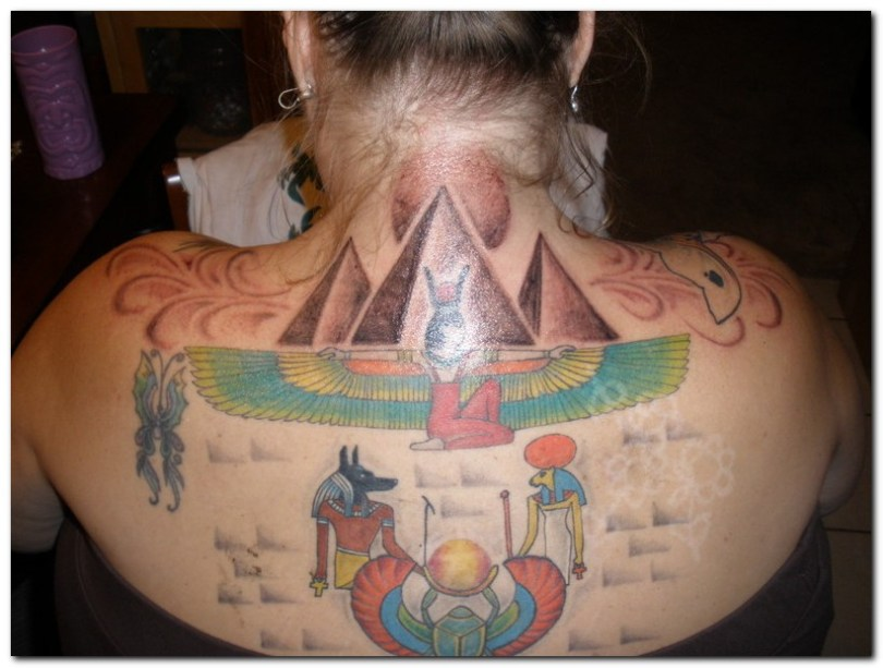 Extremely Free Egyptian Tattoo Design On Upper Back For Girls