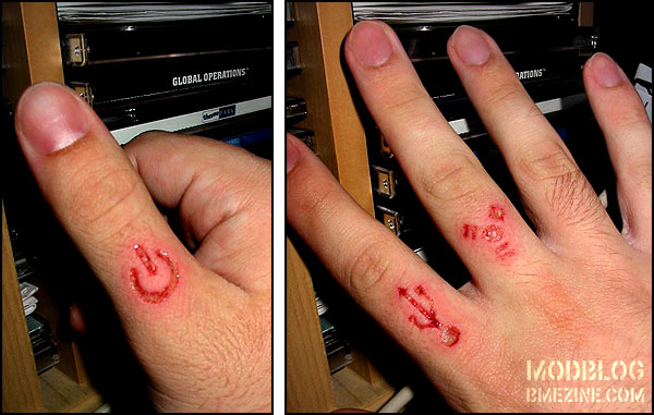 Extremely Geek Scarification Tattoo Design On Fingers for Boys