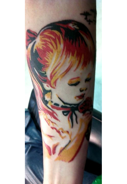 Extremely Obey Girl Tattoo On Forearm For Boys
