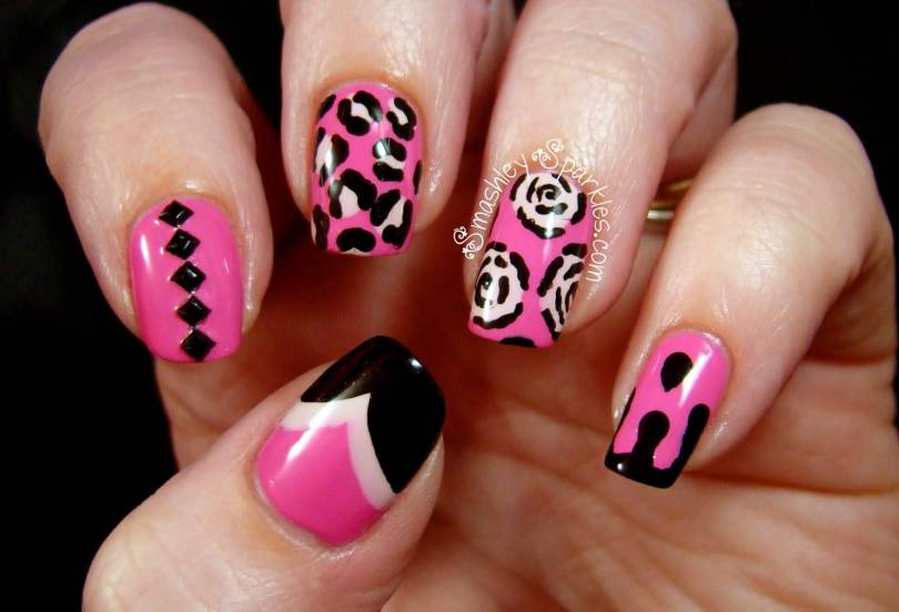 Eye Catching Black And Pink Nails With Rose And Leopard Print