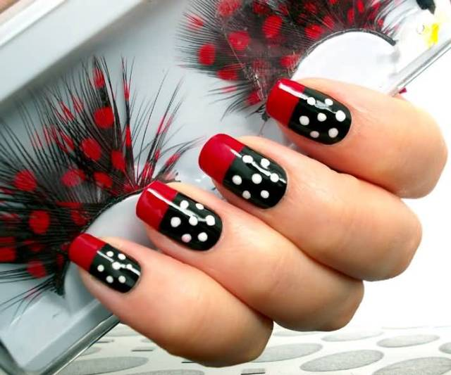 Eye Catching Black And White Polka Dot Nail Art With Red Tips