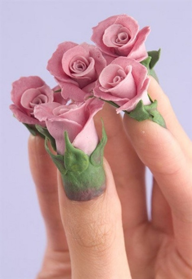 Eye Catching Rose 3D Nail Paint 3D Nail Art