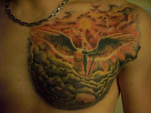 Famous Greek Sun God Tattoo On Chest For Boys