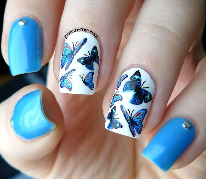 Fabulous Butterfly Nail With White Nail