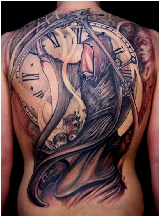 Fabulous Death Grim Reaper n Clock Tattoo On Back For Boys