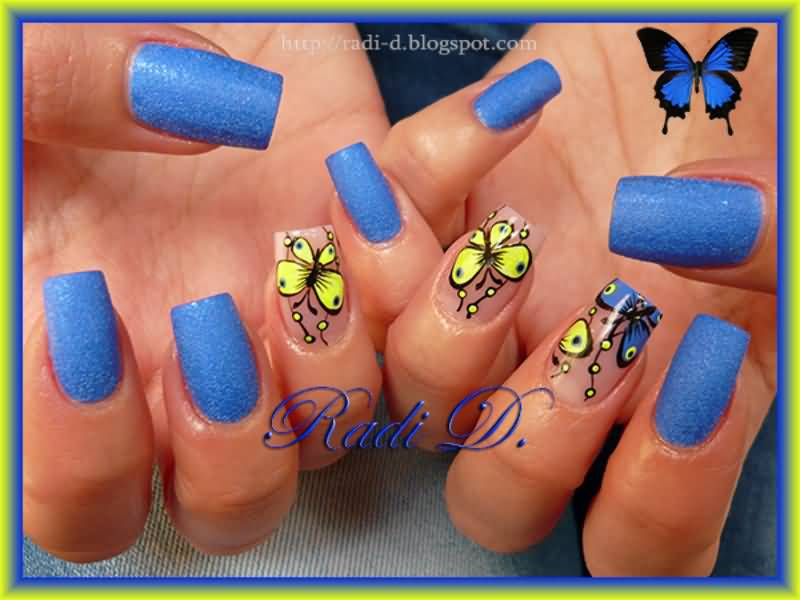 Fabulous Flower Yellow And Blue Nails