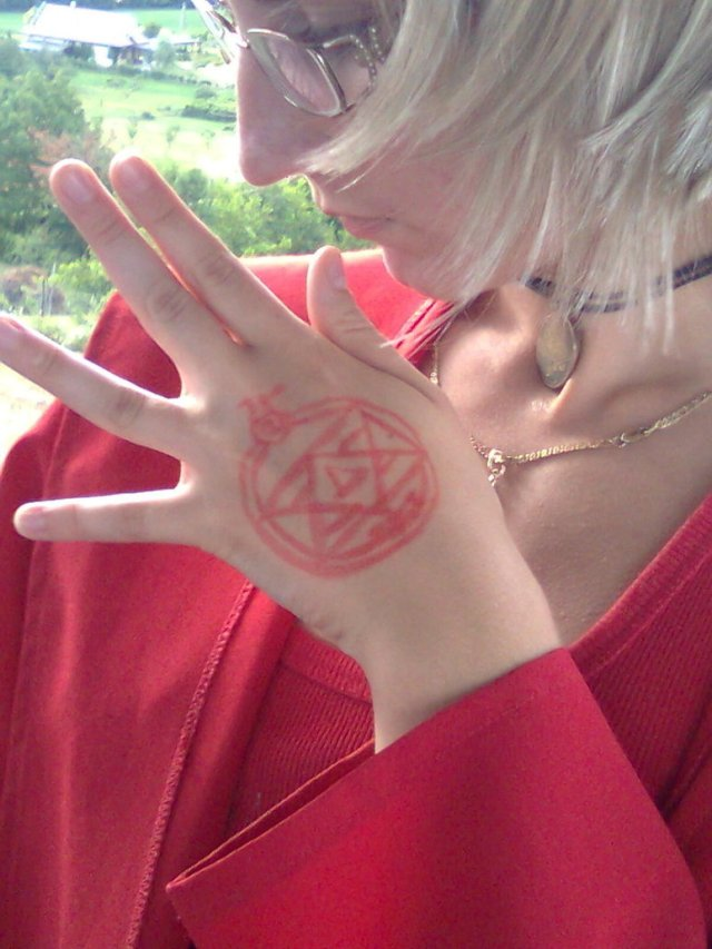 Fabulous Roy's Transmutation Circle Hand Tattoo For Girls
