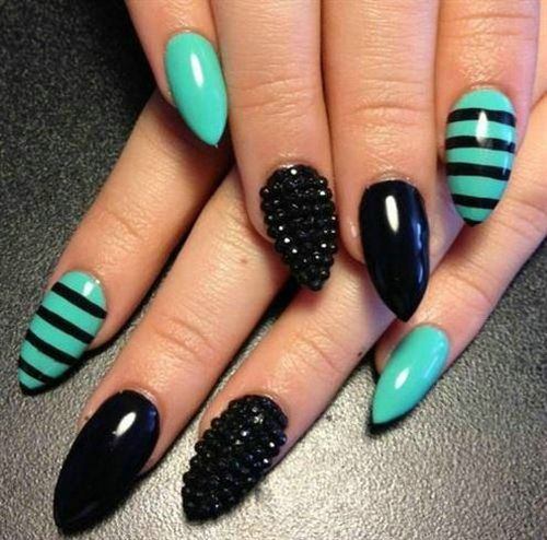 Fabulous Stiletto Nails With Sky Blue Color