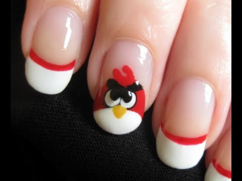 Fabulous White Color And Red Angry Bird Nail Art Design