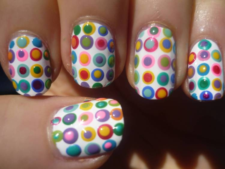 Fabulous White Paint And Colorful Birthday Nail Art