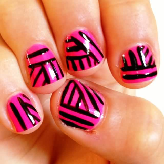 Famous Black And Pink Nails With Trendy Design Made In Home
