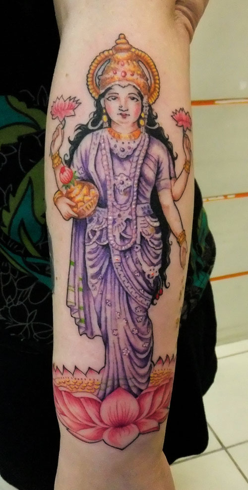 Famous Hindu Goddess Laxmi Tattoo On Arm For Girls