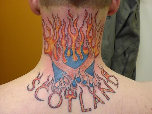 Famous Scotland Fire nd Flame Tattoo On Back Of Neck For Boys