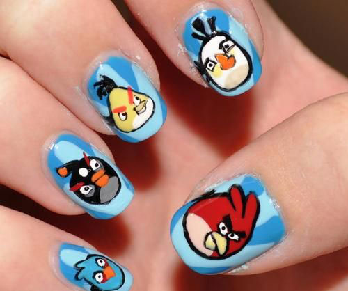 Fantastic Black And Angry Bird Nail Art Design