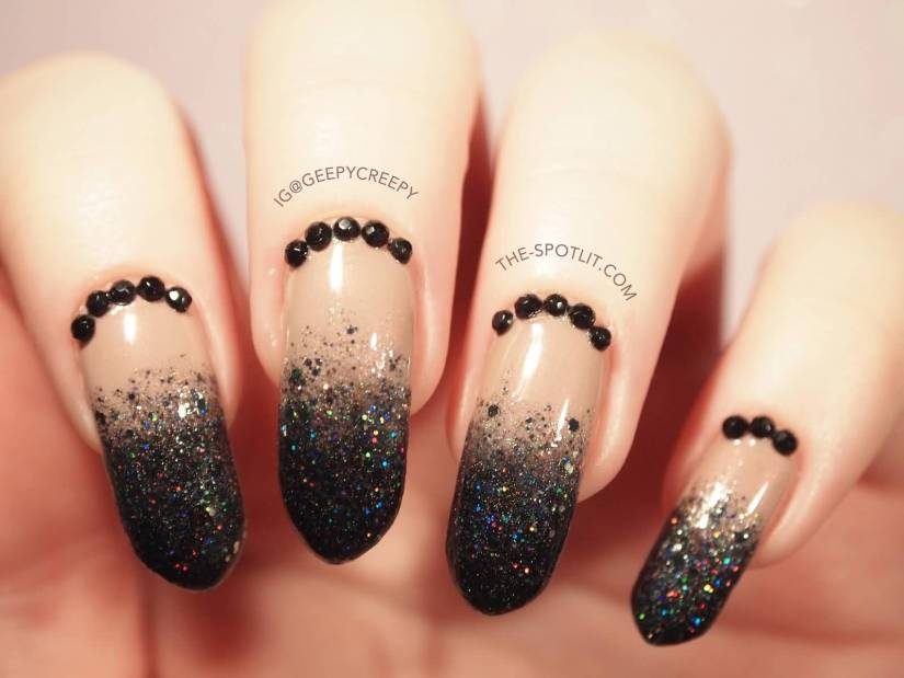 Fantastic Black And Beige Nail Art With Sparkling Nail Paint