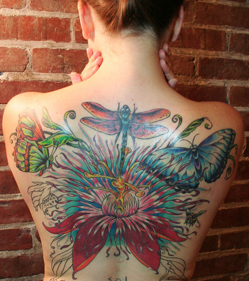 Fantastic Butterflies n Flowers Tattoo On Back Body For Girls