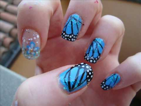 Fantastic Butterfly Nail With Flower Design
