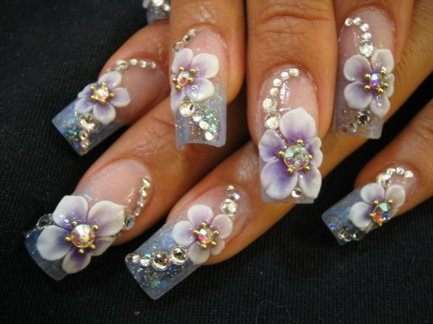 Fantastic Flower With White Flower 3D Rose Flower Nail Art