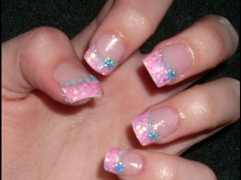 Fantastic Pink Tip With Blue Dottes Pink Acrylic Nail Art Design