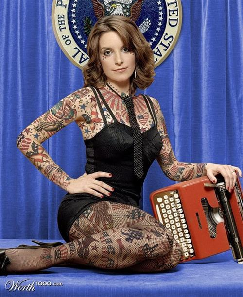 Fantastic Tina Fey Full Body Tattoo Design For Girls