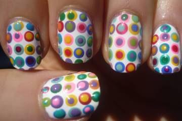 White Color Paint With Colorful Dot Autumn Nail Art