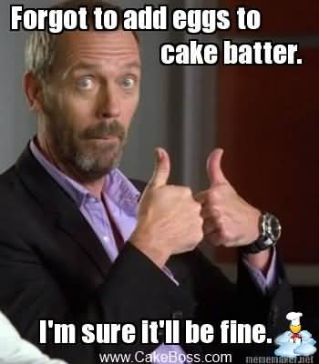 Forget To Add Eggs To Cake Batter I Am Sure It Will Be Fine Meme Photo
