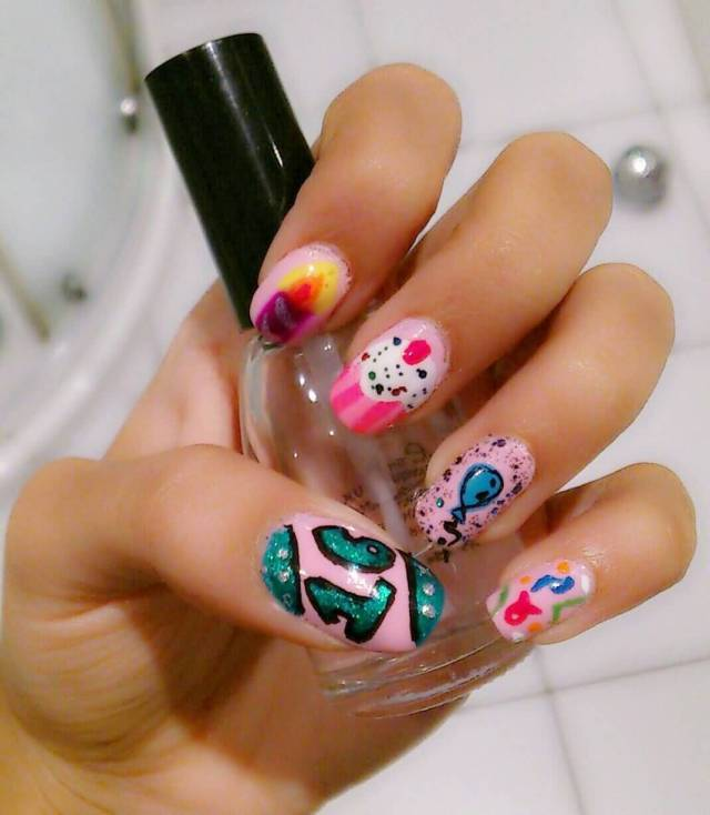 Funny 16 Year Age Birthday Nails