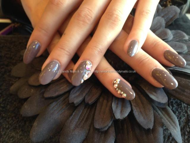 Glossy Brown Color With Rhinestone Almond Shaped Acrylic Nail Art