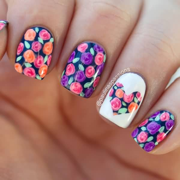 Glossy Colorful Flowers Birthday Nails