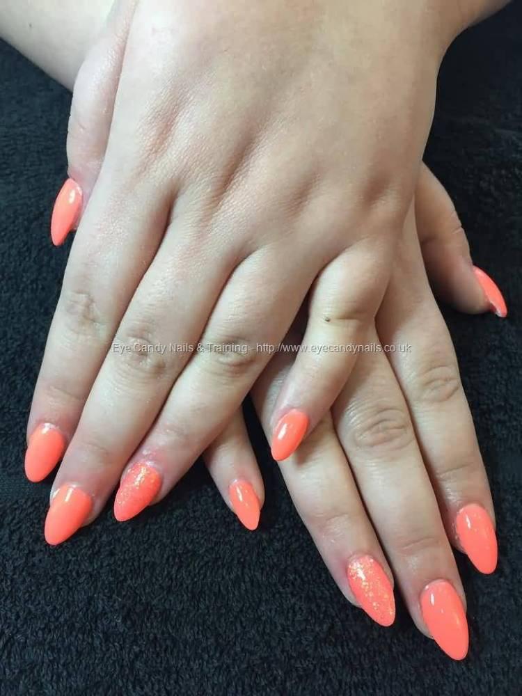 Glossy Orange Color Paint Almond Shaped Acrylic Nail Art