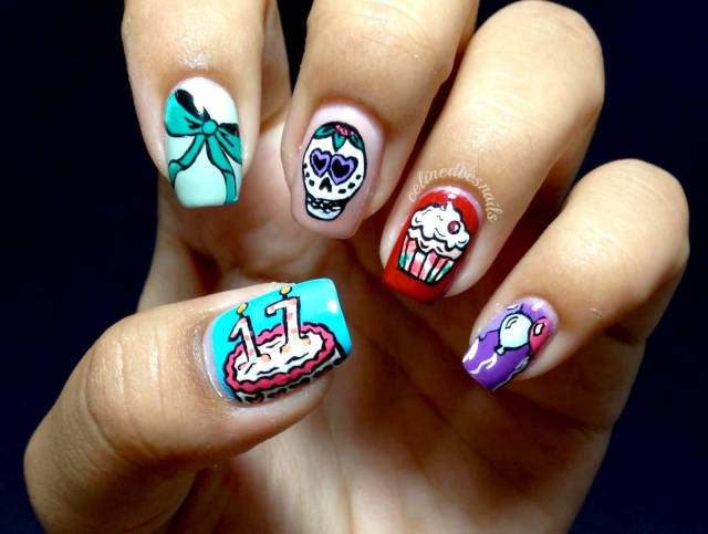 Glossy Skull Face And Ice Cream Nail Paint Birthday Nail Art