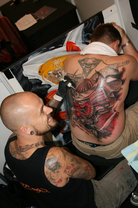 Glowing Gangster Tattoo On Full Back For Boys