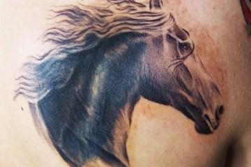 Glowing Horse Head Tattoo Design For Boys
