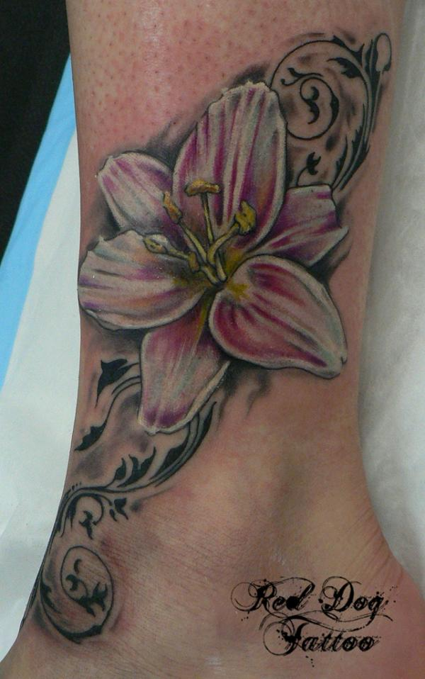 Glowing Lily Flower Tattoo On Ankle For Boys