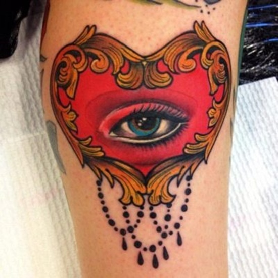 Glowing Red Heart Eye Tattoo Design For Girls