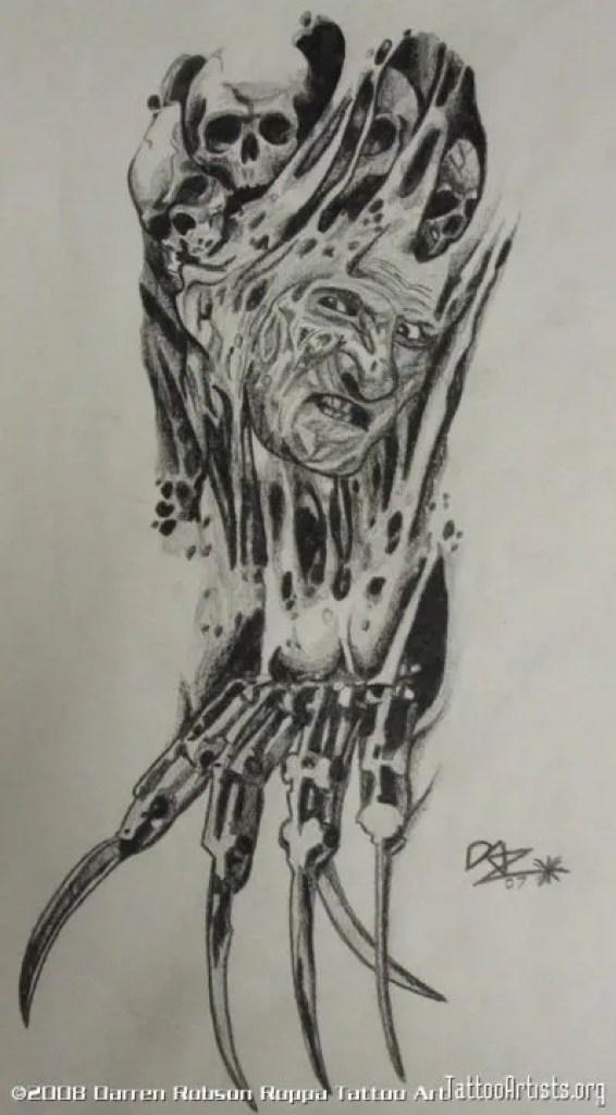 Great Biomech Freddy Horror Tattoo Design For Boys